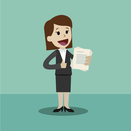 Flat style vector illustration of a business person holding a document on a happy face.
