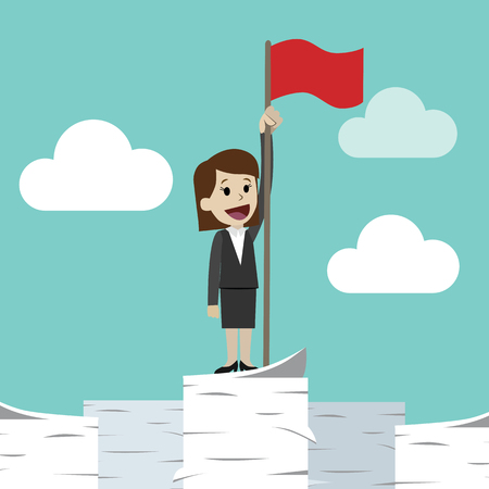 Businesswoman standing on a huge tower stack of papers and handing red flag. Job is finished successfull
