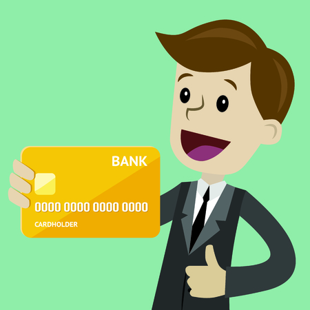 Businessman holds credit card in his hand and has profit. Successful business. Payments