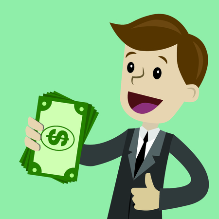 Businessman holds money in his hand and has profit. Successful business. Payments