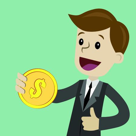Business, success businessman, money, pop art retro style, Cartoon illustration, dollar