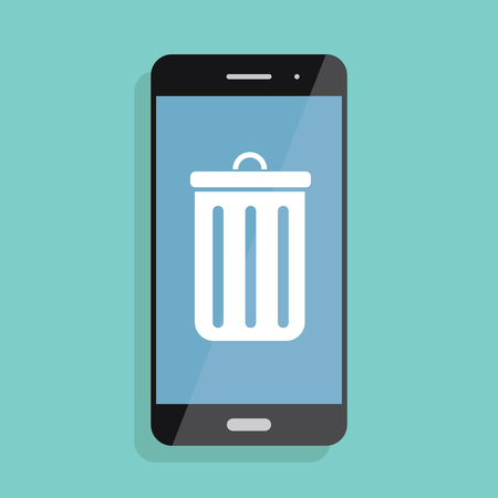 Illustration and icon of smartphone and mobile trash. Deleting information from phone Иллюстрация