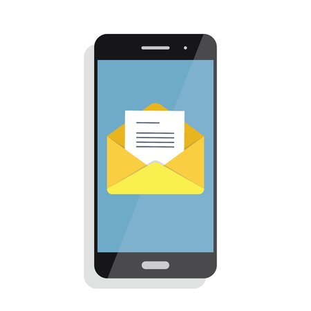 Opening of an incoming email to a smartphone. E-mailing, spam, e-commerce Illustration