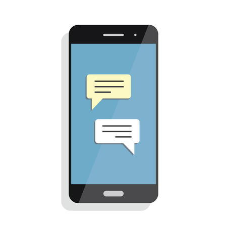 Black smartphone with chatting screen. Messenger application. Text messaging flat design concept