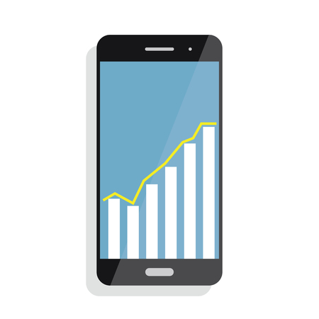 Smart phone with statistics Graph Chart. Screen with statistics, trading information, analytics