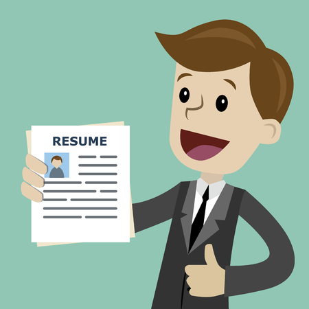 Vector cartoon illustration of a guy showing resume  in a flat style