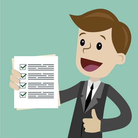 Vector cartoon illustration of a guy showing documents in a flat style Stock Illustratie