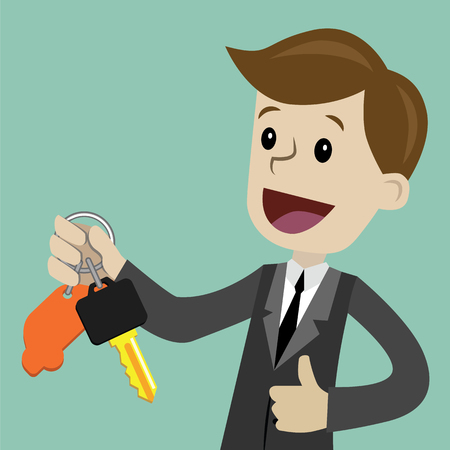 Vector cartoon illustration of a guy showing keys in a flat style