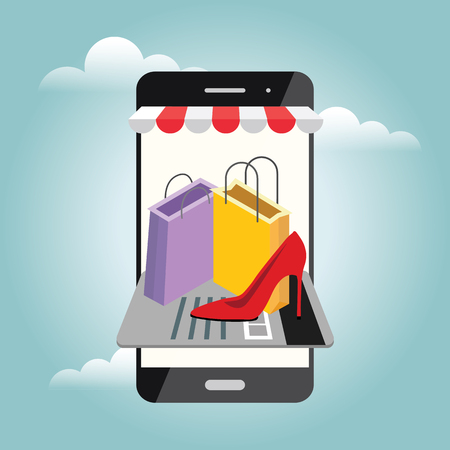 Online mobile shop store sale delivery shopping concept. 일러스트