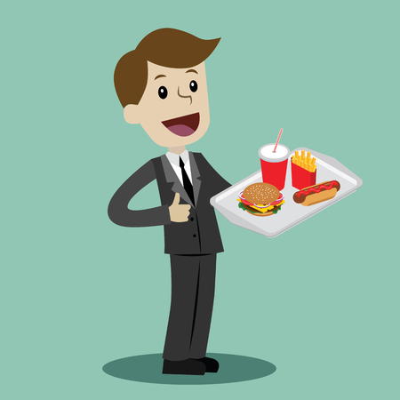 Vector waiter cartoon illustration in a flat style Foto de archivo - 96387191