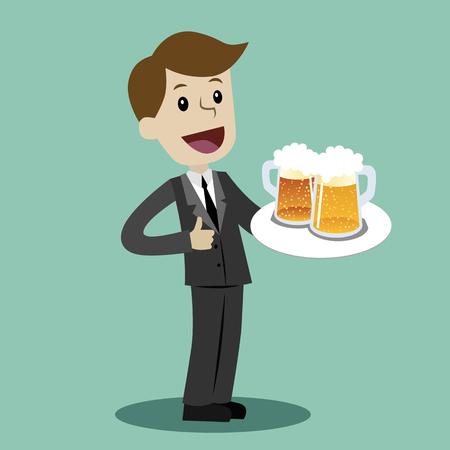 Vector waiter cartoon illustration in a flat style