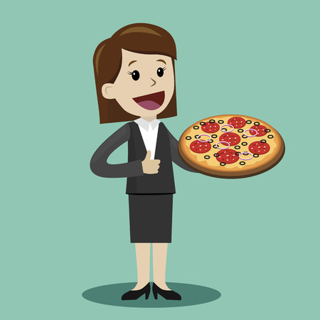 Happy businesswoman plan to have a lunch with pizza. Vector illustration Illustration