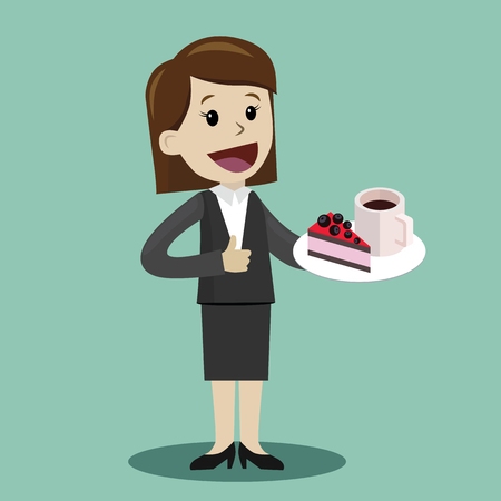 Businesswoman drinking coffee with a cake during the break Vectores