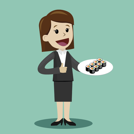 Happy businesswoman plan to have a lunch with rolls. Vector illustration