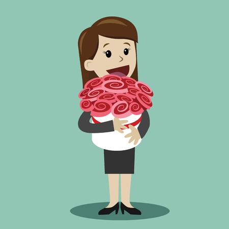 Vrouw met een boeket bloemen. Element voor wenskaart Stock Illustratie