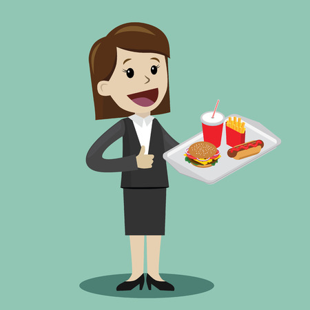 Happy businesswoman plan to have a lunch with fast food. Vector illustration