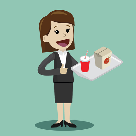 Happy businesswoman plan to have a lunch with wok. Vector illustration