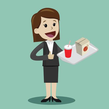 Heureuse femme d'affaires prévoit de déjeuner avec wok. Illustration vectorielle Banque d'images - 96683157