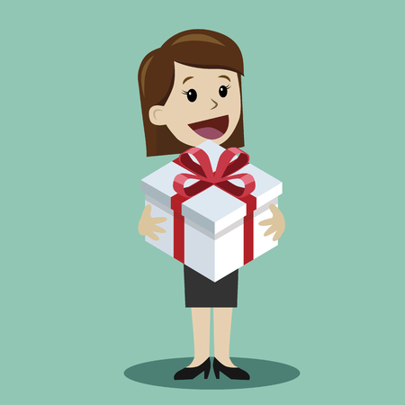 Woman with a gift. Element for greeting card