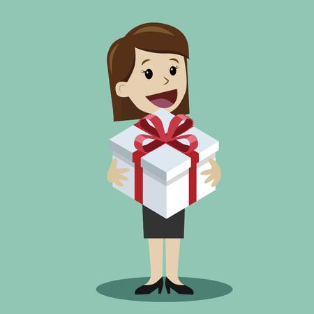 Vrouw met een geschenk. Element voor wenskaart Stockfoto - 96683160