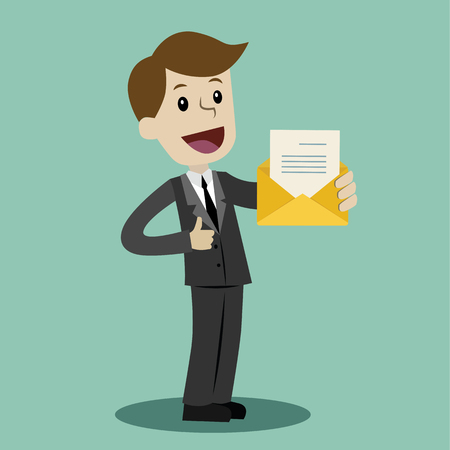 Businessman or manager has a lot of emails. He found the one. Job is finished successfull