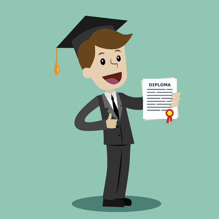 A man in a suit hold a degree certificate of college or business school or diploma of university.