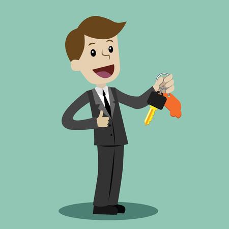 Venta de autos. Empresario o gerente tiene una llave de un auto nuevo. Sonrisa feliz. Ilustración de dibujos animados de concepto de negocio.