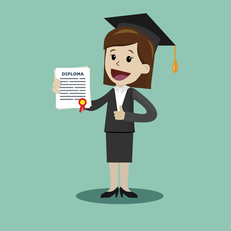 A woman in a suit hold a degree certificate of college or business school or diploma of university.