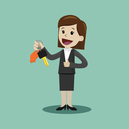 Car sale. Businesswoman or manager is holding a key of a new car. Happy, smile. Business concept cartoon illustration.