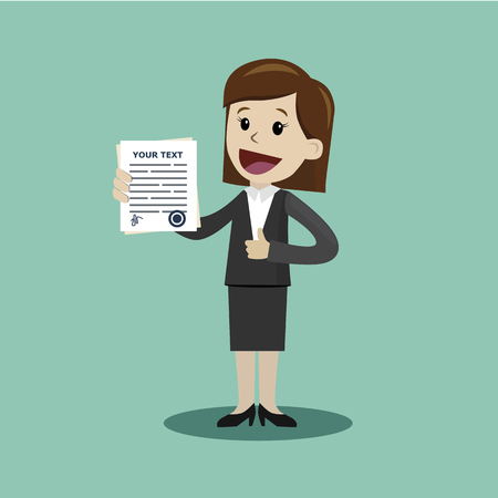 Businesswoman or manager holding a contract or another document with signature. Happy, smile. Illustration