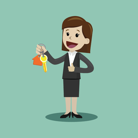 Businesswoman hand buying a house and giving keys to client. Real Estate Concept Illustration