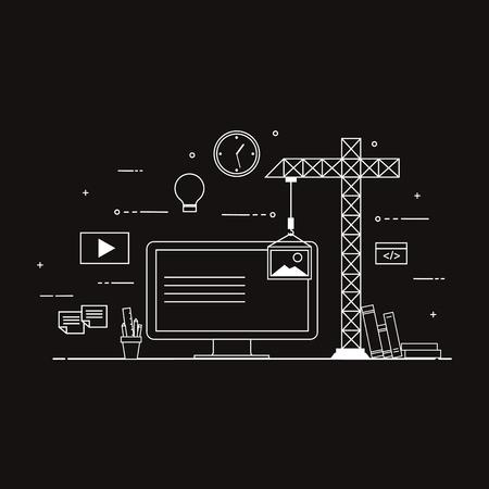 플랫 모바일 UI UX 디자인 웹 정보 그래픽 개념 벡터. 화면에 인터페이스를 만드는 크레인. 사용자 인터페이스 경험, 유용성, 모형, 와이어 프레임 개발