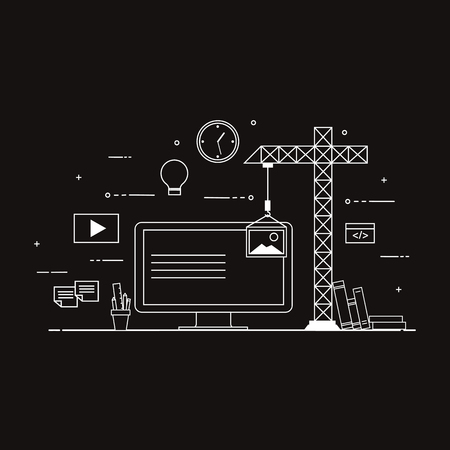 Flat mobile UI UX design web info-graphic concept vector. Crane creating interface on screen. User interface experience, usability, mock-up, wire-frame development concept. Black and white.