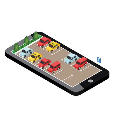 Isometric cars in the car parking. Mobile searching. Looking for parking. Flat 3d isometric urban city info-graphic concept.