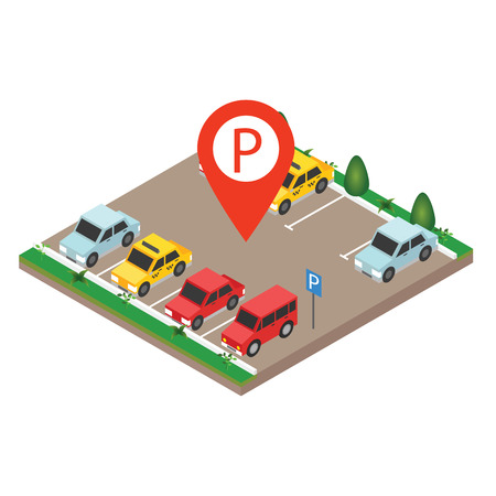 Isometric cars in the car parking. City parking vector web banner isometric flat vector style. Parking Sign. Flat 3d isometric urban city info-graphic concept.