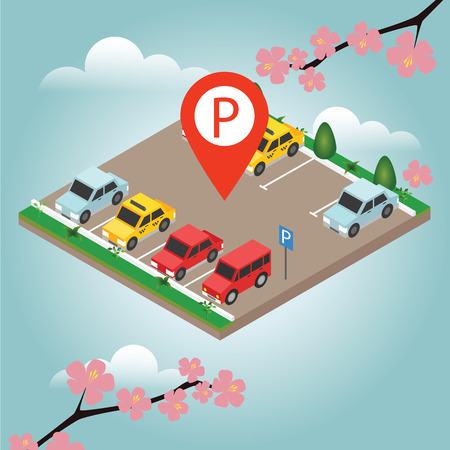 Isometric cars in the car parking. Spring time. Parking Sign. City parking vector web banner isometric flat vector style. Flat 3d isometric urban city info-graphic concept.