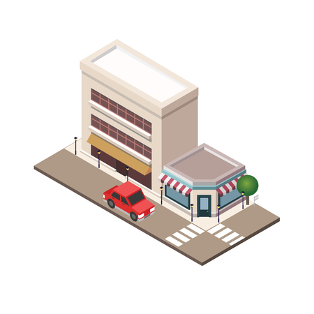 Isometric small town urban landscape center map with building, shop and roads. Town plan, construction architecture vector illustration.