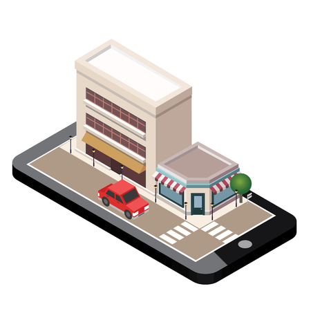 Isometric small town urban landscape center map with building, shop or service and roads. Mobile technologies in city. Town plan, construction architecture vector illustration.