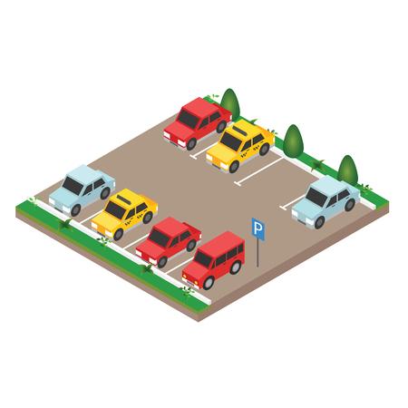 Voitures isométriques dans le parking. Style de vecteur plat isométrique de bannière de vecteur de stationnement de la ville.