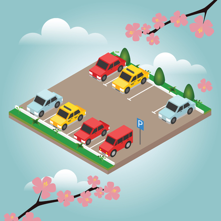 Isometric cars in the car parking. Spring time. City parking vector web banner isometric flat vector style.