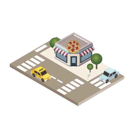 Isometric city Pizzeria Food delivering City life Geo tracking Map Vector illustration. Çizim