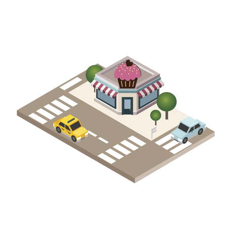 Isometric city Cafe or restaurant Food delivering City life Geo tracking Map Vector illustration.