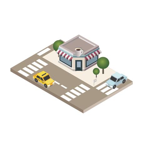 アイソメトリック居心地の良いカフェ。市内の駐車場、車、通りを備えたレストランの建物。シティライフベクターイラスト  イラスト・ベクター素材
