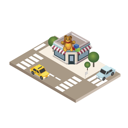 Isometric city Childish gifts and toys shop. Geo tracking City life Map Isometric city Food delivering Vector illustration.