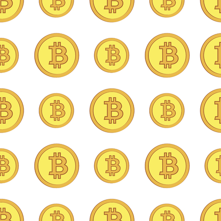 Golden coins with bitcoin sign seamless pattern. Crypto-currency market. Money icons on white background
