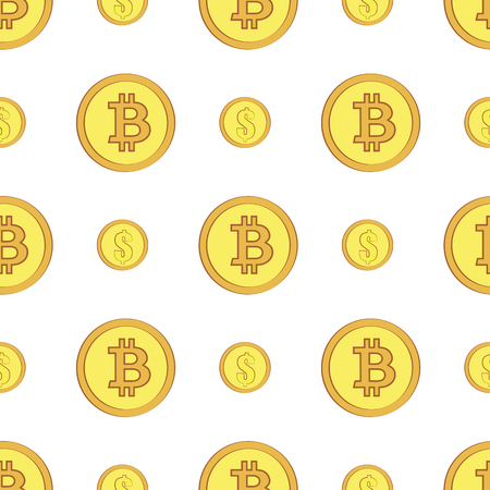 Golden coins with bitcoin and dollar signs seamless pattern. Crypto-currency market. Money icons on white background