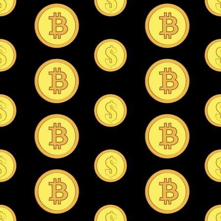 Golden coins with bitcoin and dollar signs seamless pattern. Crypto-currency market. Money icons on black background