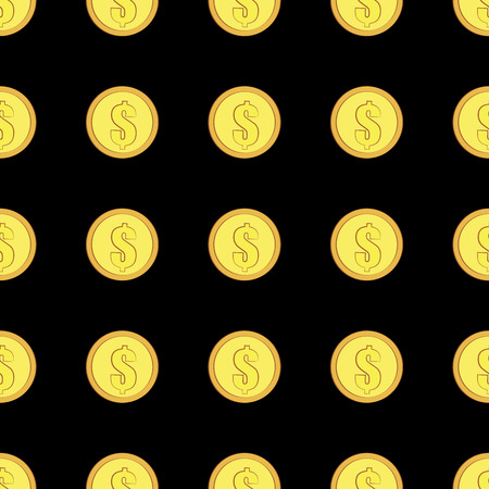 Golden coins with dollar sign seamless pattern. Money icons on black background