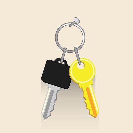 set of keys Flat vector illustration. Concept picture for business Vettoriali