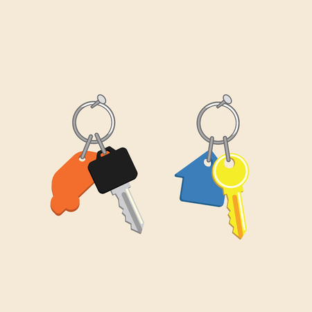 home key with blue home key chains and car key orange car key chains vector.